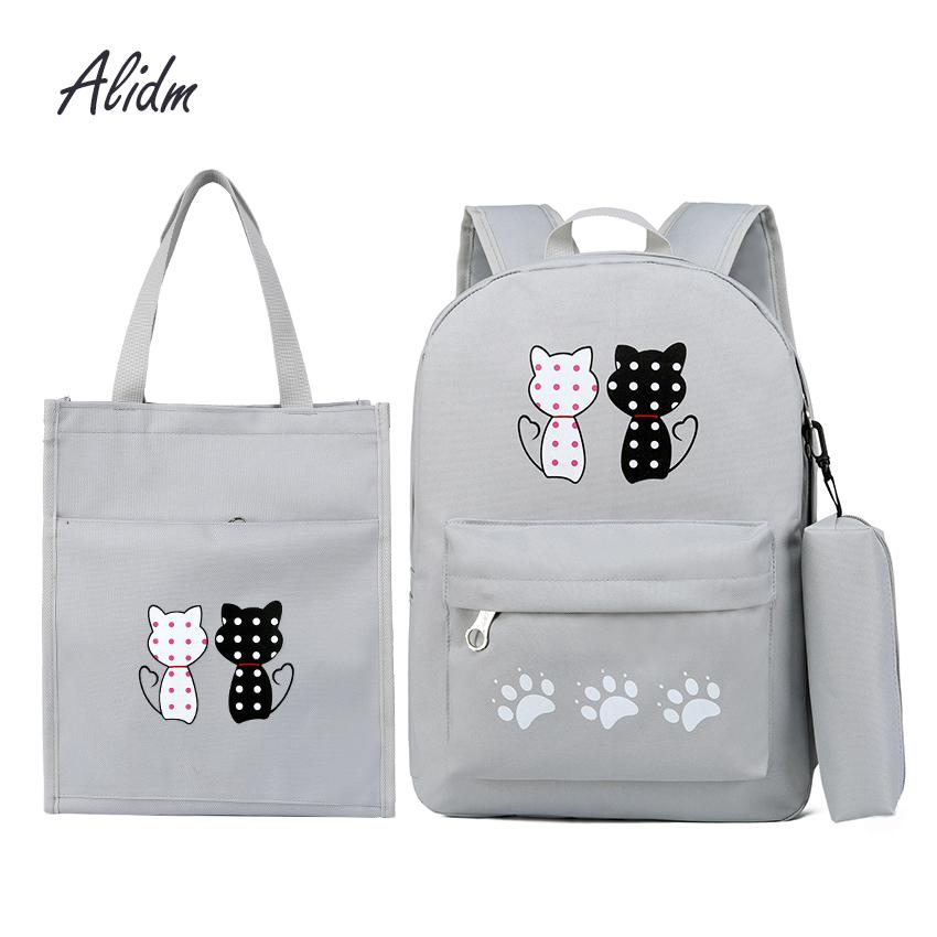 Fashion Composite Bag Korean Style Student Backpacks For Teenage Girls Bagpack School Bags 3 Set Cute Backpack Rucksack Tote Bag