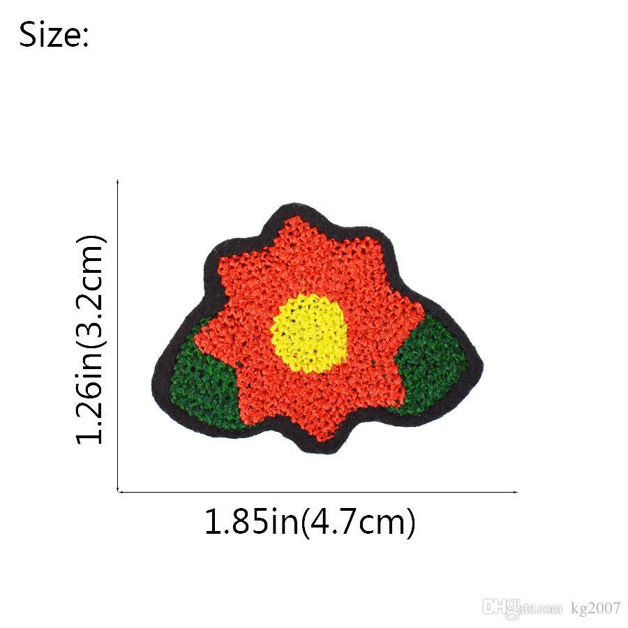 Diy fleur rouge Stitchwork Correctifs pour meurtrissure Cousez Correctifs vêtements brodés pour vêtements Manteaux Décoration Applique Patch Accessoires