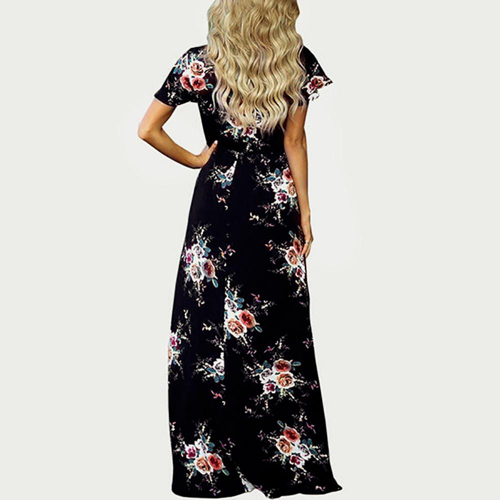 e8912a244b Good Quality Women Long Dress Hot Sale 2018 Maxi Boho Floral Summer Beach  Dress V Neck Fashion Elegant Long Evening Party Dress Junior Cocktail  Dresses Gold ...
