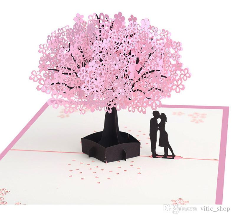 Sakura Greeting Cards 3D Tree Lover Blessing Card Pop Share Your Love Handmade Kraft Message For Anniversary Gift SDC01 Birthday Greetings