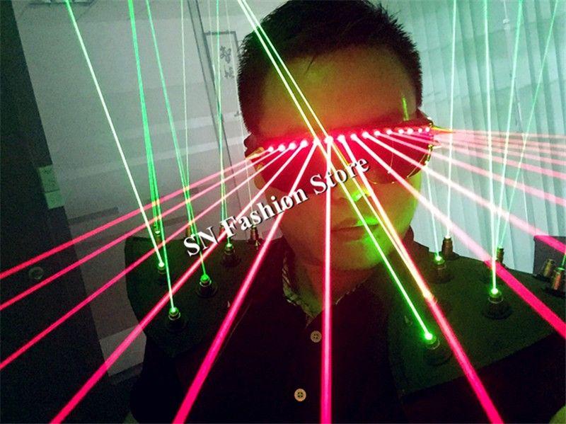 T19 Ballroom dance costumes laser light vest props dj nightclub wears laser glasses costumes laser man projector clothes vest performance dj
