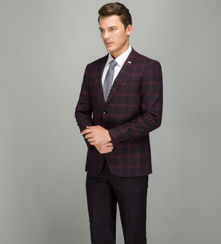 7aef781014 2019 Plaid Costume Suits Men 2018 Latest Coat Pant Designs Red Blue Slim  Fit Formal Business Suit Set High Quality Man Dress Costume From Nevalee,  ...