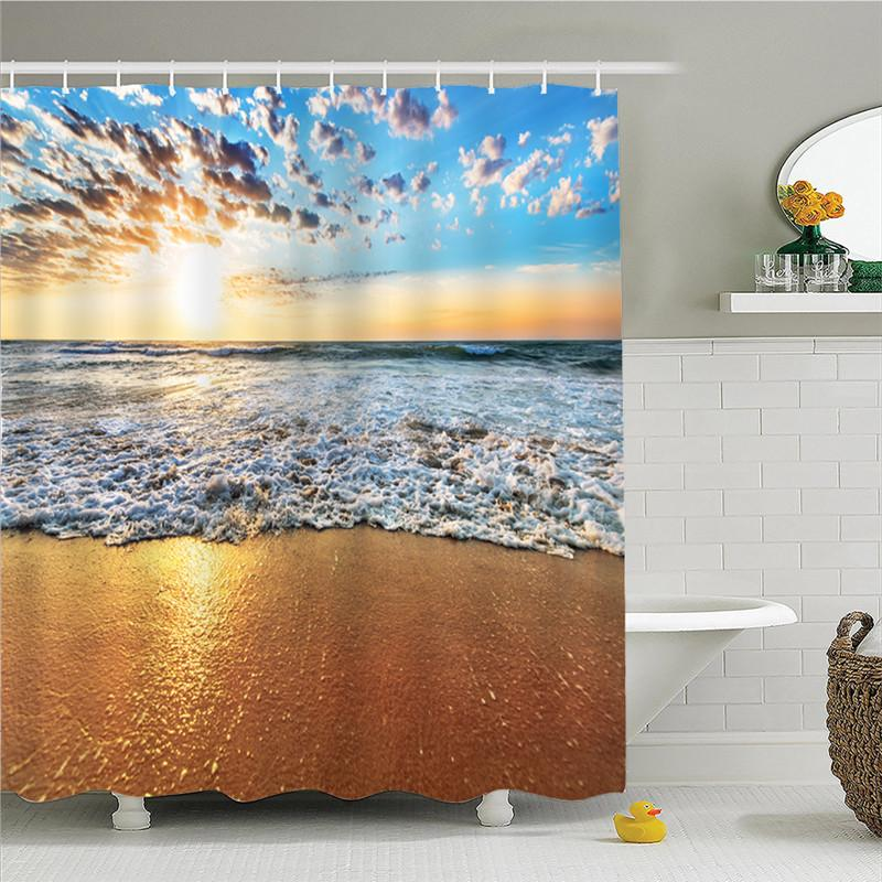 2019 Sunset Shower Curtain Tropical Plants Printing Custom For Bathroom Waterproof Polyester Dropshipping AP16 From Bdgarden 256