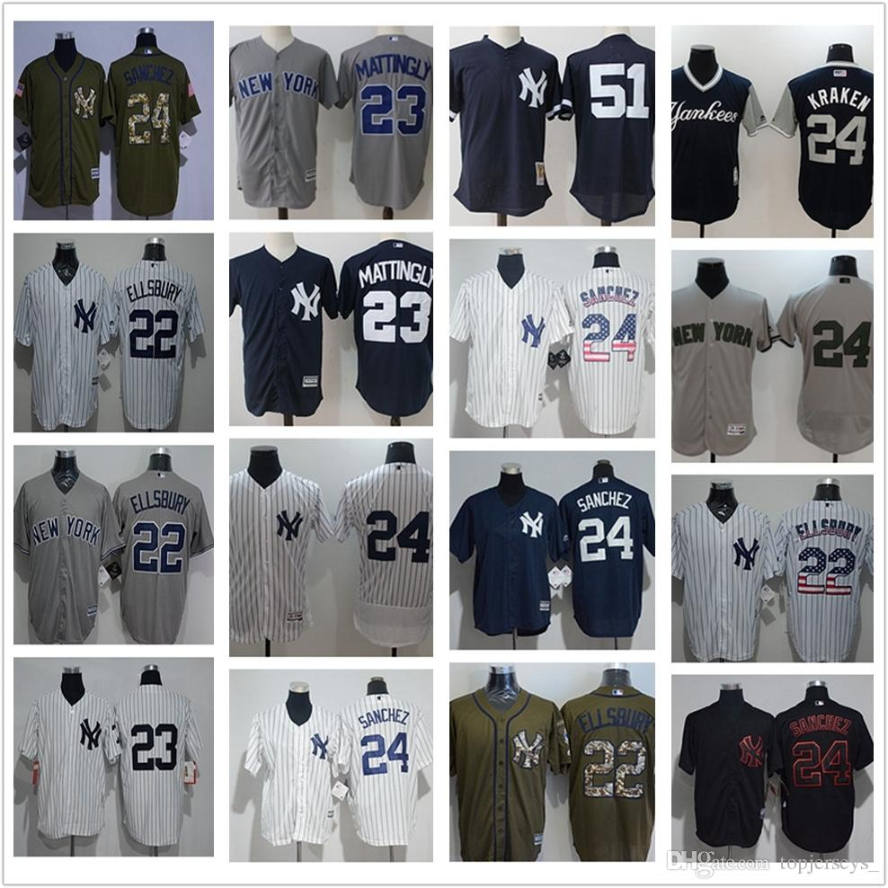 pretty nice 11f13 02e06 custom Men women youth NY Yankees Jersey #22 Jacoby Ellsbury 23 Don  Mattingly 51 Bernie Williams White Baseball Jerseys