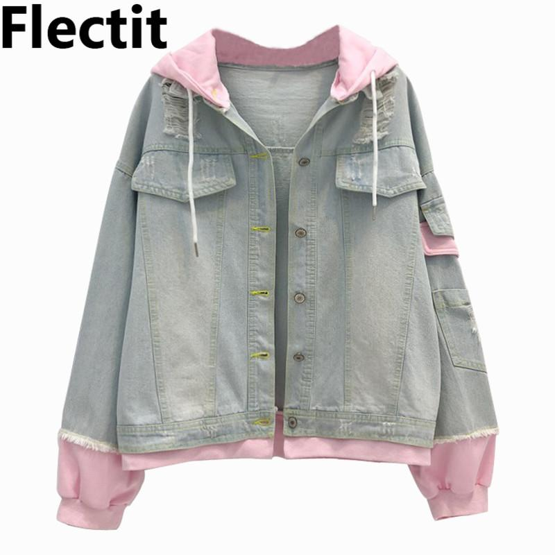 fd8b3a54eea Flectit Winter Pink Hooded Denim Jacket Women Jeans Jacket With Drawstring  Hood Ribbed Cuffs Jackets Coats Female   Womens Jacket Biker Leather Jacket  From ...