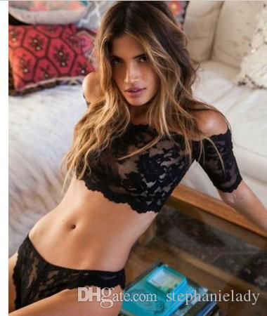 Lace Bralette+Panties Sexy women's Plunge Underwear Set Bra & Brief Sets Transparent Black See through Tube Top BH Intimes