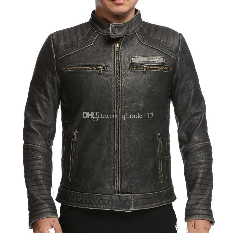 Limited Edition Live Fast Mabobo Classic men genuine leather jackets vintage black motorcycle jacket fashion Embroidery