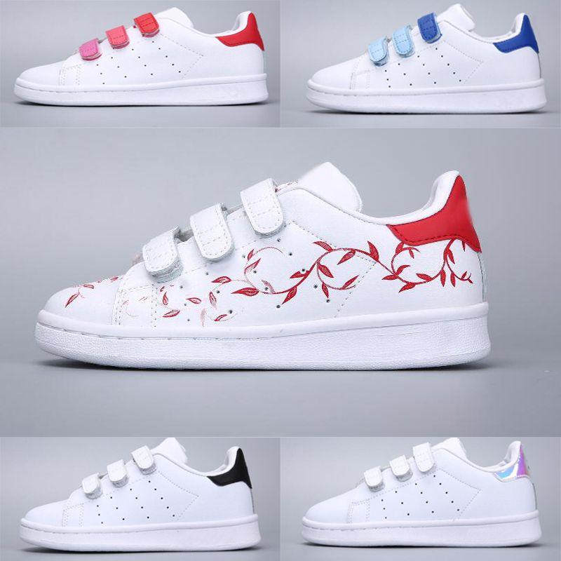 Adidas Stan Smith Superstar Neue Ankunft 11 Farben Kinder Superstars Kausalen Schuhe mit drei hookloop Jungen Mädchen Mode super sterne freizeit
