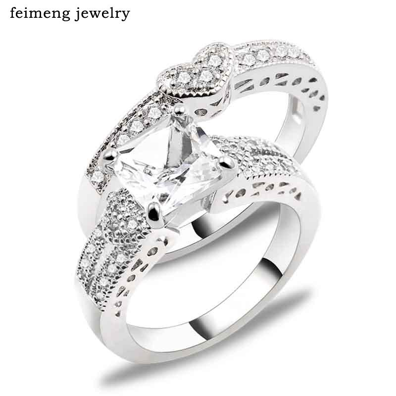 New Fashion Sliver Color 2 Pieces Ring Sets Love Heart Cubic Zirconia Wedding Rings For Women Wholesale Size 6 7 8 9 Wholesale