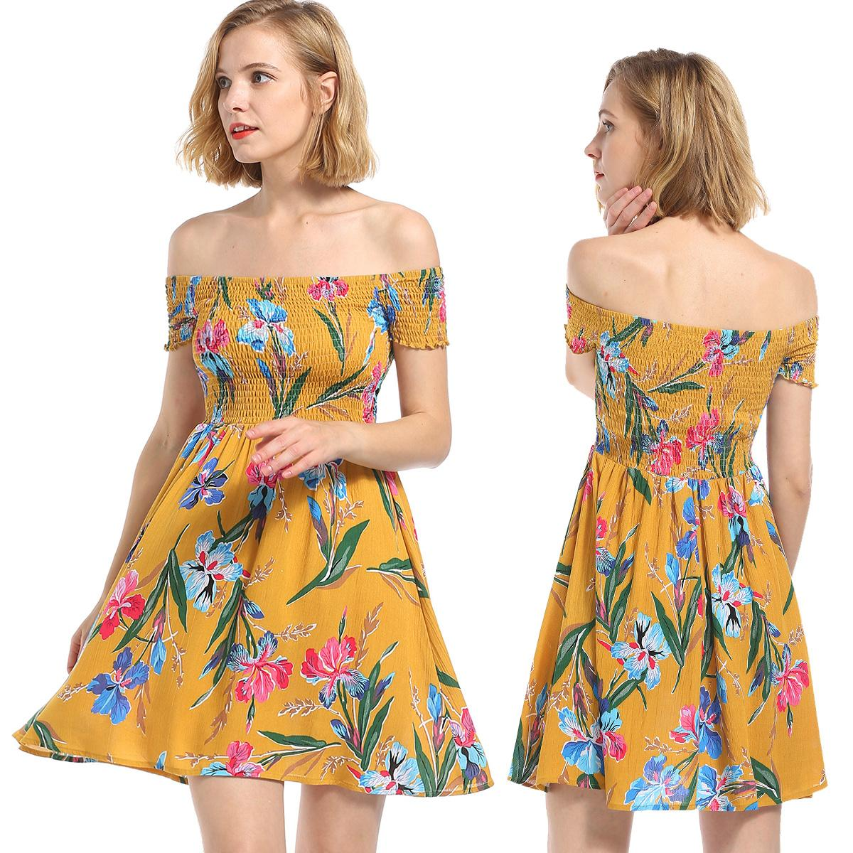 36e5d47a5172 Summer Women Sexy Boho Style Chiffon Off Shoulder Yellow Floral Print Short  Sleeve Beach Holiday Empire Waist Mini A Line Dress Affordable Evening  Dresses ...