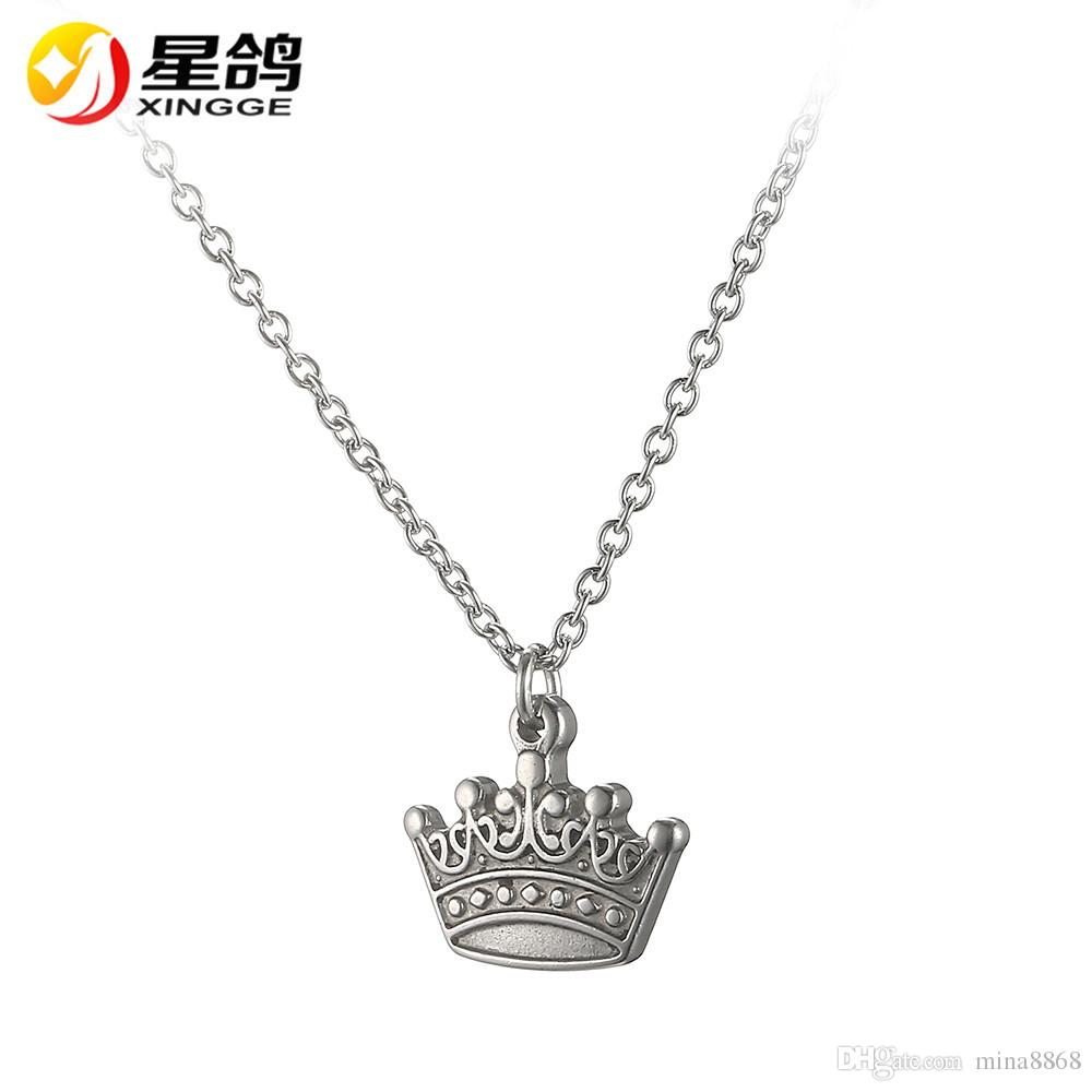 chin stainless crown eg necklaces necklace engraved kids princess steel up jewelry slips