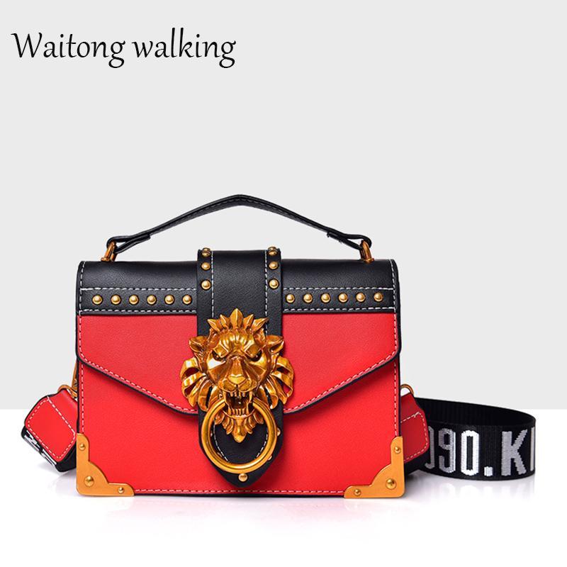 2018 New Women PU Leather Handbags Fashion Luxury Famous Brand Shoulder  Bags Lion Head Lock Handbag Messenger Crossbody Bags Best Messenger Bags  Handbags ... 97b8d04cda362