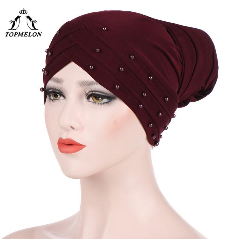 TOPMELON Muslim Women S Autumn Hats Beading Dots Pattern Wrap Cross Caps Female  Hat Red Purple Black Beige Grey Funny Hats Baseball Hat From Clintcapela 96cf58e7a56