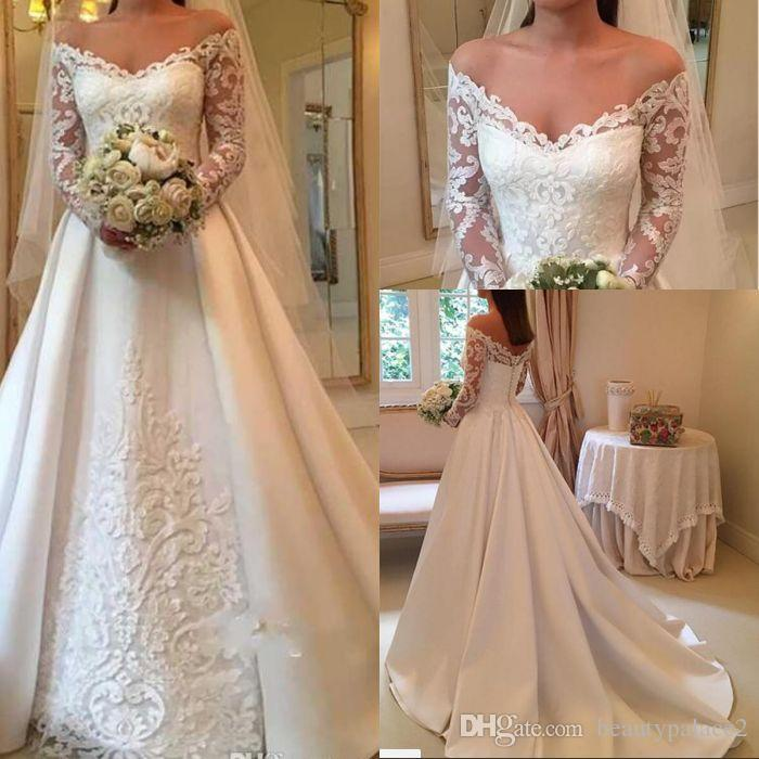 48bf98167dea Discount 2018 Elegant White A Line Wedding Dresses Off Shoulder Long Sleeve  Lace Appliques Sexy Back Button Bridal Dresses Charming Wedding Gowns ...