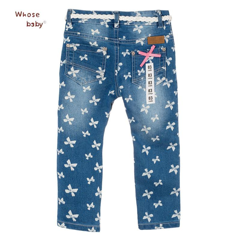 2017 Hot Girls Jeans Butterfly Print Soft Denim Cotton Pants For Girl Trousers Children Clothing Infant Autumn Pant Girls Jeans
