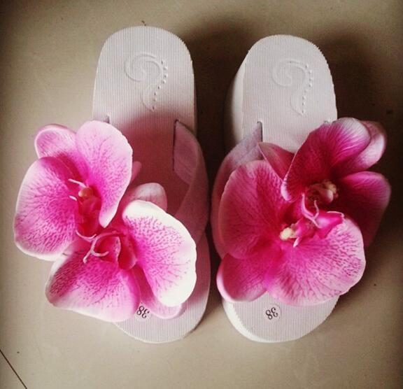 0e11b48f097 Wholesale Big Flower Flip Flops Women High Heels Summer Wedges Sweet Purple  Platform Sandals Flower Slippers Ankle Boots Slippers From Haoxinbag