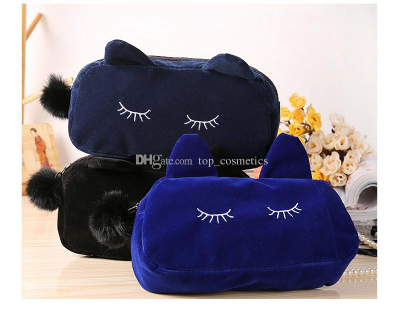 Cute Portable Cartoon Cat Coin Storage Case Travel Makeup Flannel Pouch Cosmetic Bag Korean and Japan Style