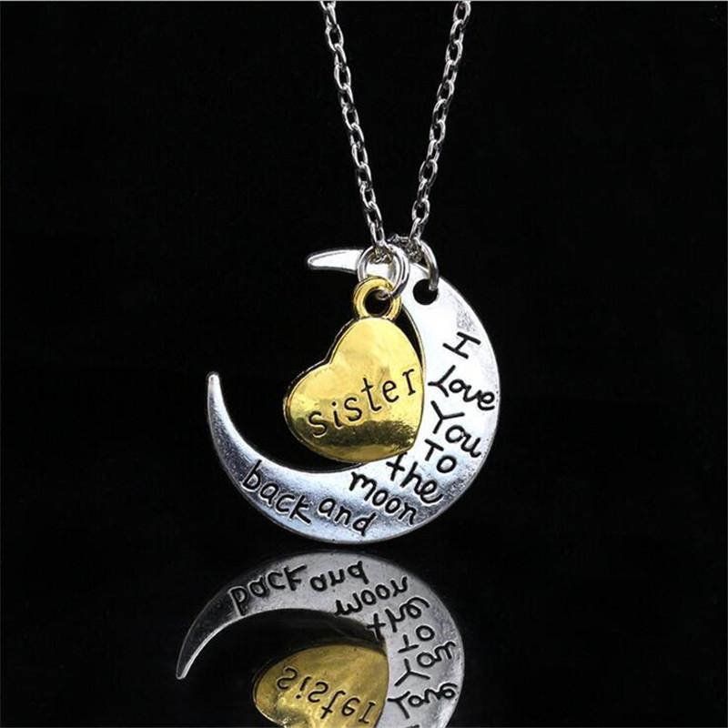 Seni Seviyorum Ay ve Geri Gümüş Kolye Anne Baba Kızı Oğul Büyükanne Büyükbaba Aile Gerdanlık Kolye Kolye erkekler Erkekler 066