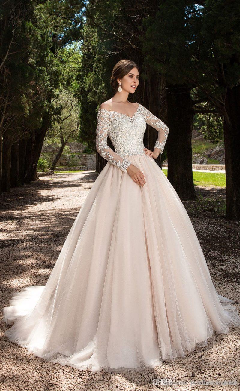 Vintage dentelle manches longues, plus la taille des robes de mariée robe de mariée de l'épaule bouton dos plus la taille robes de mariage de style Countyr