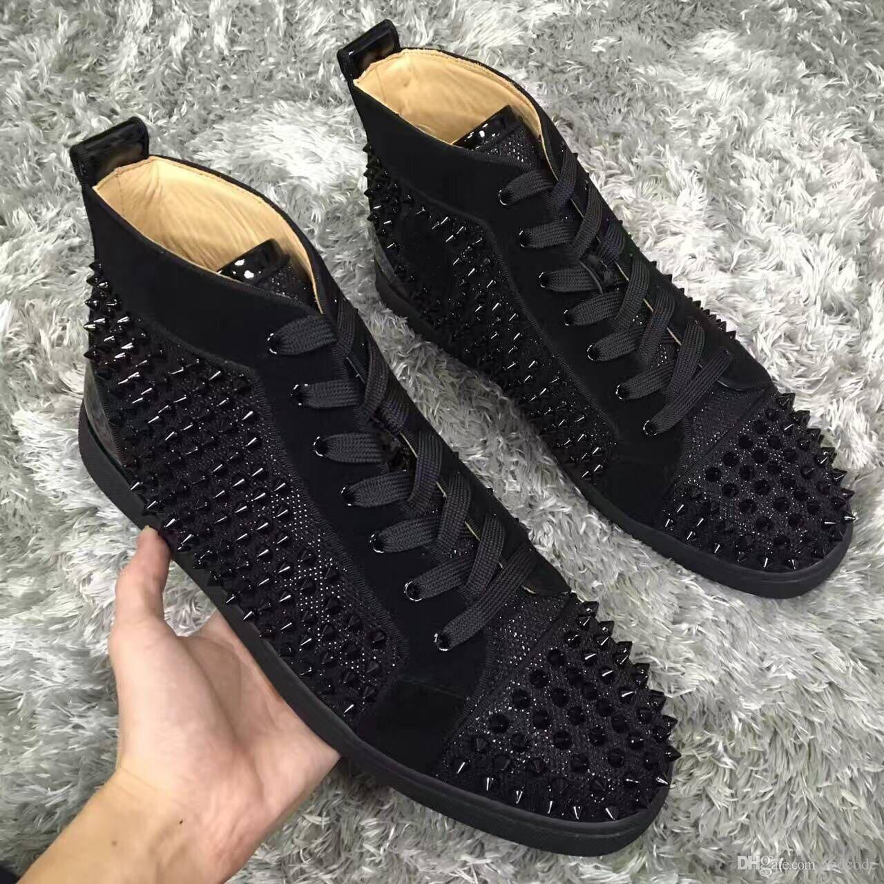 new styles fc886 6d5ef Original Cheap Red Bottom Sneakers for Men Luxury Black glitter with Spikes  Fashion Casual Mens Womens Shoes Designer Party Wedding