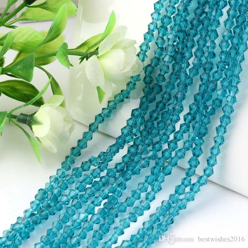 6MM 50Beads/PieceFaceted Bicone Crystal Spacer Beads DIY Jewelry Accessories Blue/Lake Blue/Peacock Blue/Green/Light Green/Pink
