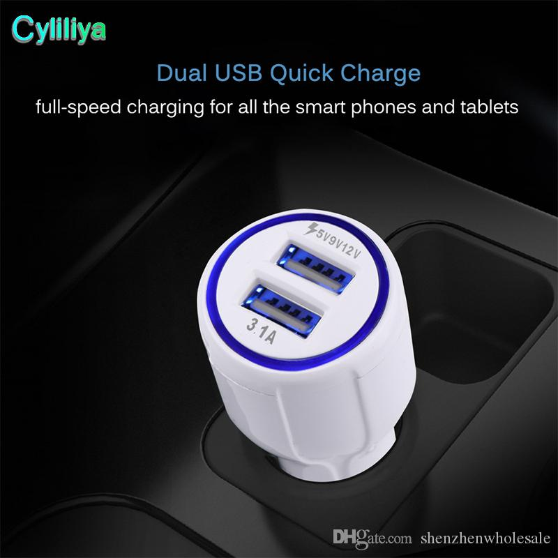 QC 3.0 Fast Car Charger Dual USB 3.1A Fast Charging 9V 2A 12V 1.2A Qualcomm Adaptive Quick Charge Adapter for Samsung Galaxy S8 Iphone 8 X