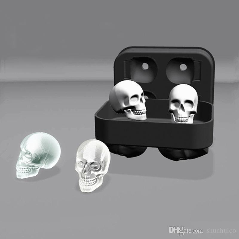 skull ice cube mold 3D silicon ice tray whiskey cocktail ball ice cube maker halloween home bar diy tools