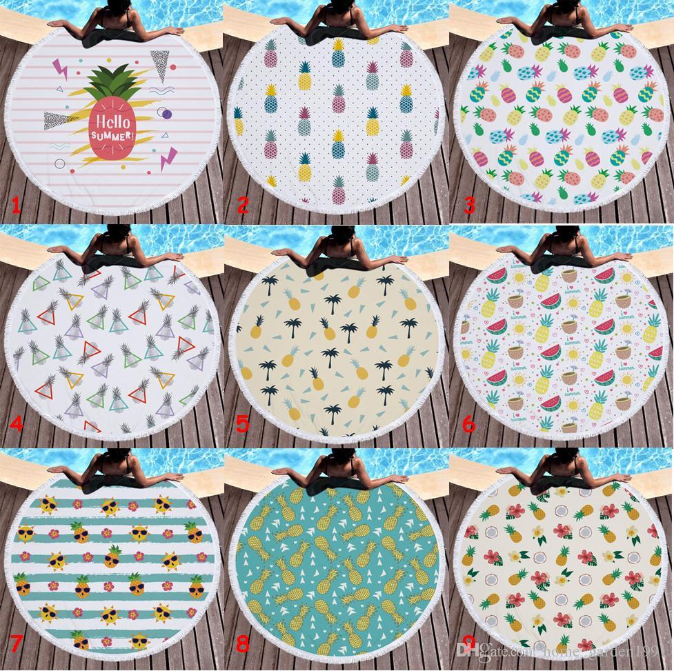 150cm microfibre ronde serviette de plage épaisse douce super absorbant gland serviettes fruits d'été ananas plage serviettes de bain tapisserie 31 dessins
