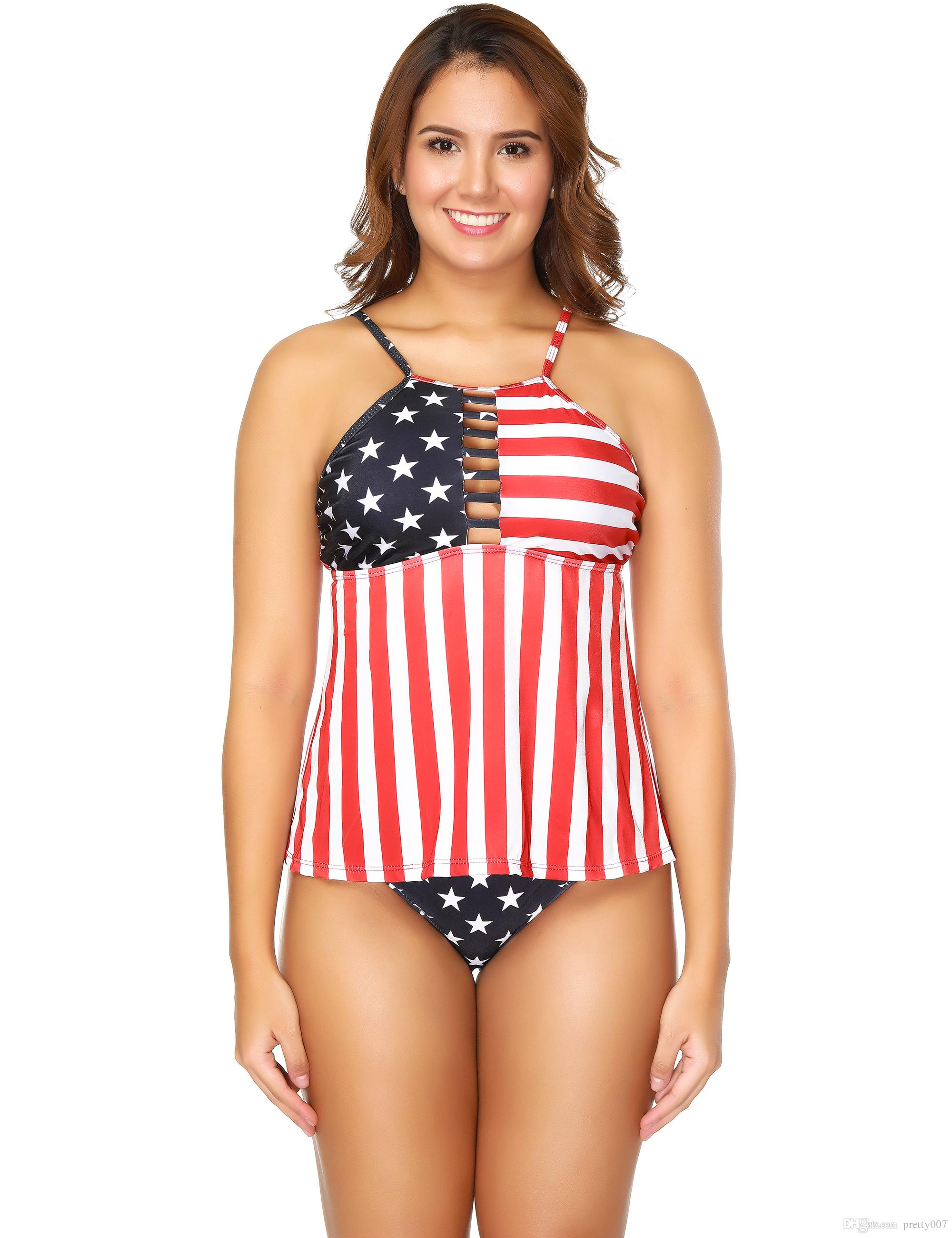 afbc7fe07bdda 2019 Fashion Swimming Suits Women American Flag Pattern Halter S 3XL  Triangle Swimwear Bathing Suits Swimsuits From Pretty007, $15.09 |  DHgate.Com