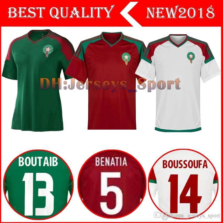 a6818c738 Compre 2018 Copa Do Mundo De Marrocos Longe De Casa Terceiro Soccer Jersey  2018 2019 Marrocos Verde Branco Vermelho Camisa De Futebol Camisa De  Futebol De ...