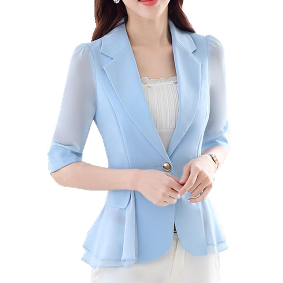 bd08f57ac65 2019 2018 S 3XL Plus Size Ladies Blazers Jacket Half Sleeve Elegant ...