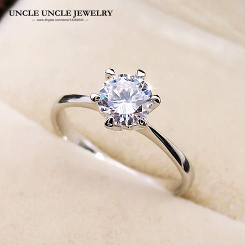 On Sale Forever Love Classic Wedding Ring White Gold Color 6 Prong