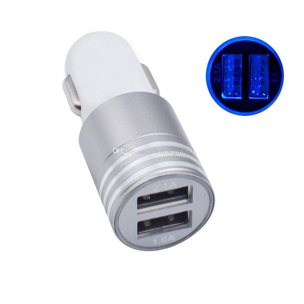2.1A+1A Aluminum alloy 2 ports usb LED Light Car Charger USB car Charger for iphone x 8 7 for samsung s9 s8