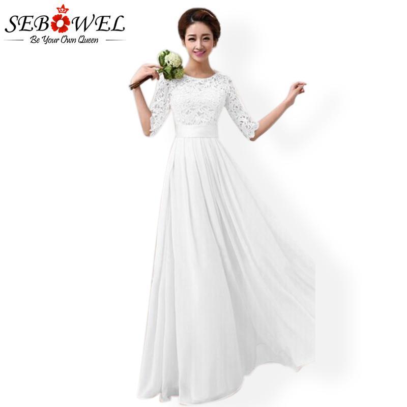b057bc374494 SEBOWEL vestido de fiesta blanco largo mujeres de verano elegante vestido  de fiesta de encaje maxi más el tamaño de piso de la mujer plisada vestido  ...