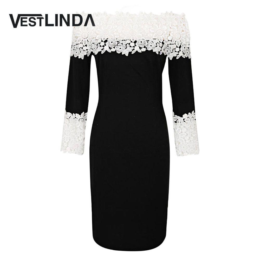 88b015348dc26 VESTLINDA Sexy A-Line Bodycon Lace Women Dress Off The Shoulder Long Sleeve  Knee Length Women Fashion Dresses Office Ladies Robe