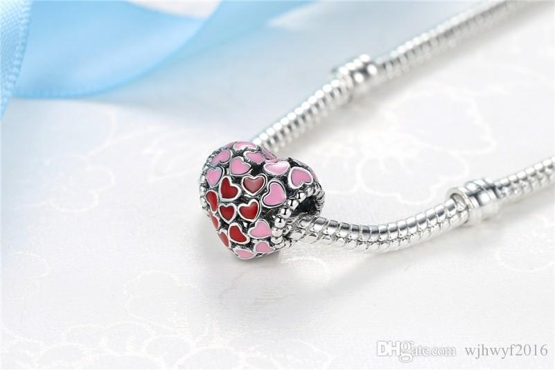 Valentines Collection Authentic 925 Sterling Silver Jewellery Burst Of Love Red Pink Heart Silver Bead Charms Diy Bracelet Fashion Jewelry
