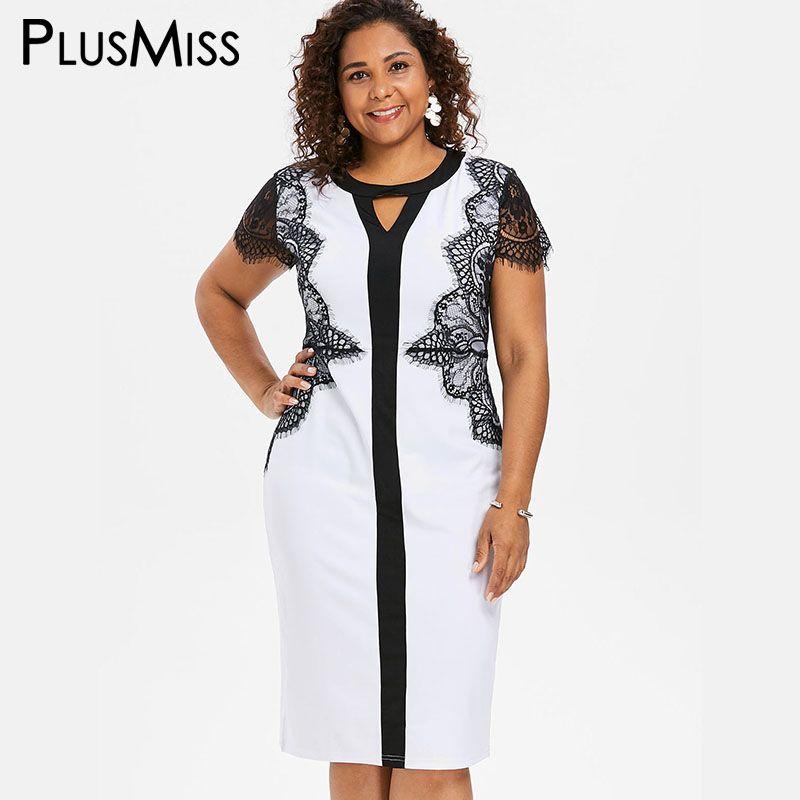 aa08c1af1 Compre PlusMiss Plus Size 5XL XXXXL XXXL Elegante Encaje Floral Negro  Blanco Vestido De Lápiz Office Ladies Vestidos De Fiesta Del Desgaste Del  Trabajo De ...