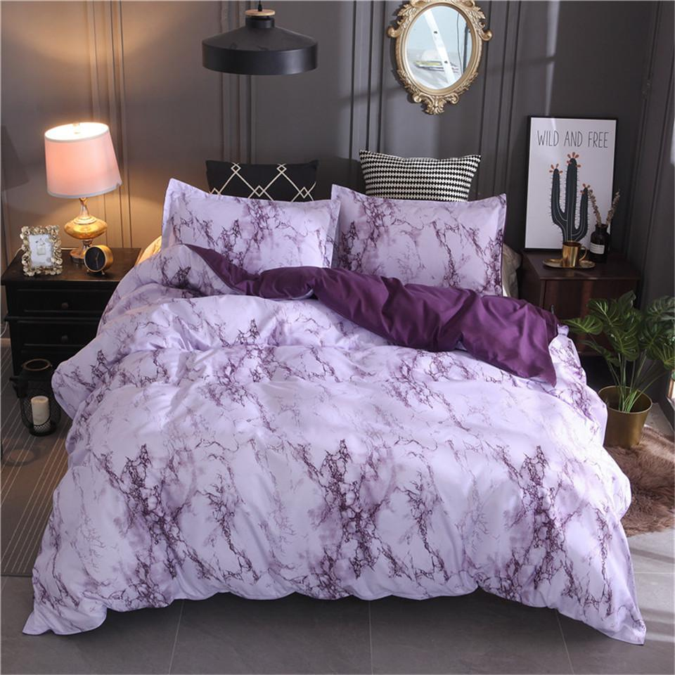 Purple Marble Bedding Set Purple/White Duvet Cover Bed Set Twin ...