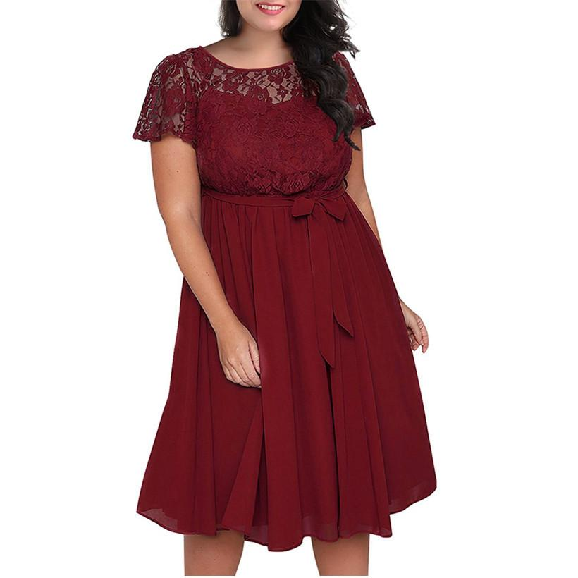 610c9a13b125 New Large Size Women S Dress Round Neck Fat Girl Loose Lace Stitching Short  Sleeve Lace Dress 2 Colour Wine Red Black Size L 3XL Cute Cocktail Dresses  ...