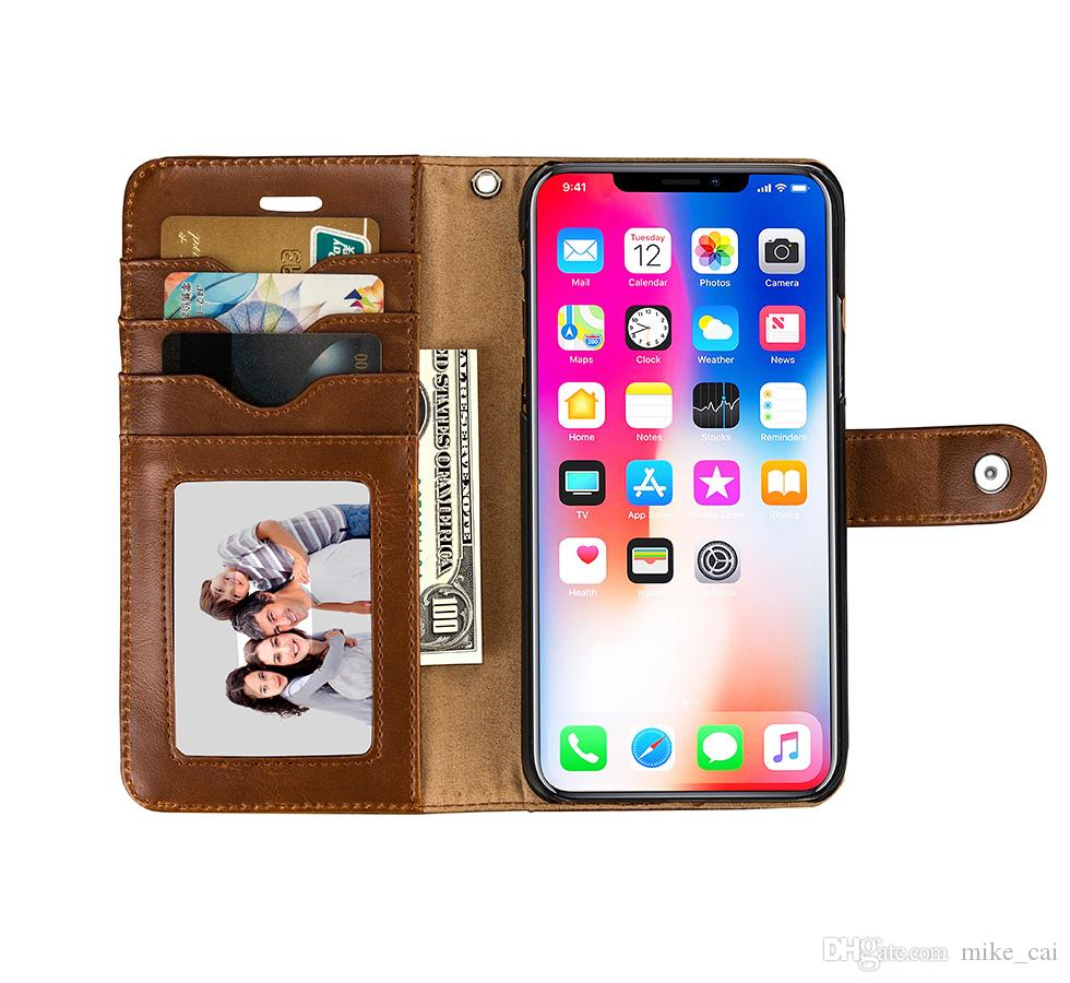 Original Leather Folio Wallet Case with Logo for iPhone X Official Flip Smart Phone With Card Slot Cover for Apple iPhone X 8 7 6 6S Plus