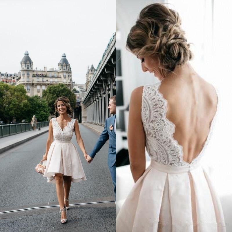 Discount Hot Sale High Low Short Wedding Dresses 2019 V