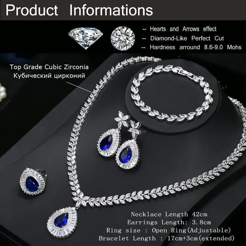 CWWZircons Water Drop Royal Blue CZ Collana orecchini anello e braccialetto 4 pezzi gioielli da sposa set le donne da sposa partito T098