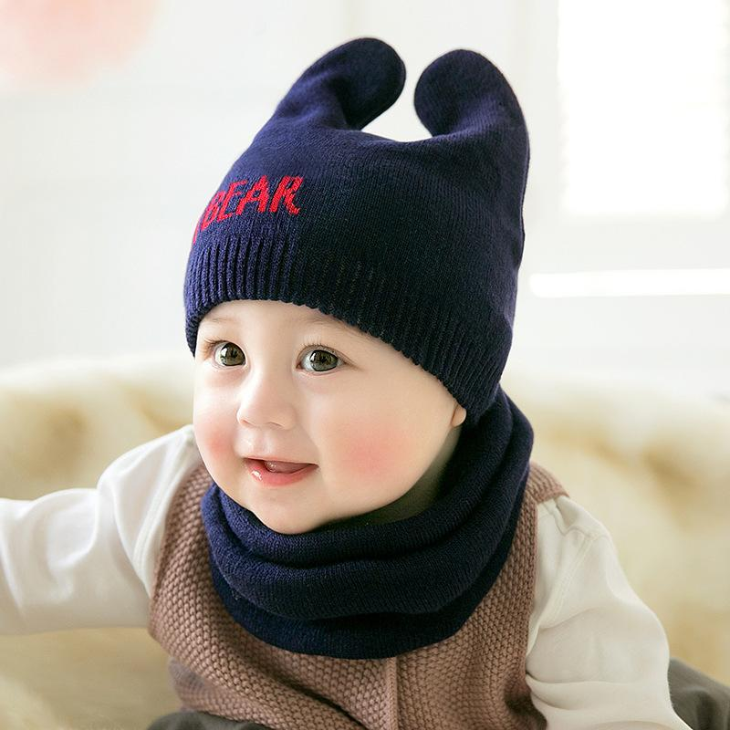 4fccac6bace972 2019 Cute Newborn Baby Beanies Hat Scarves Bear Knitted Warm Hat Scarf Set  Infant Cap Protects Ear Baby Winter Caps + Scarf From Wfactory, $5.21 |  DHgate.
