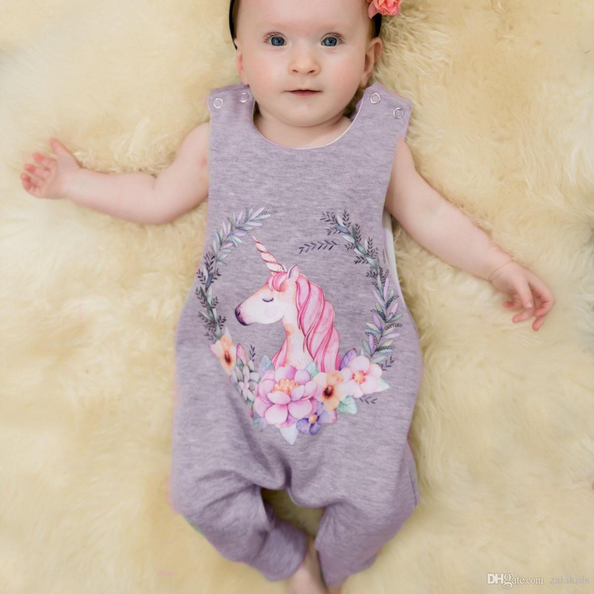 c6e006f6d706 2018 New Baby Girl Unicorn Rompers Summer Clothes Sleeveless ...
