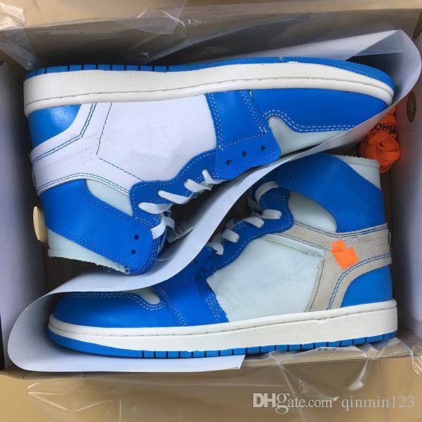 pretty nice 77db1 f25d0 Mit Box 1 UNC WHITE BLUE HIGH Männer Basketball Schuhe I Frauen Sport  Turnschuhe Trainer Größe 5-13