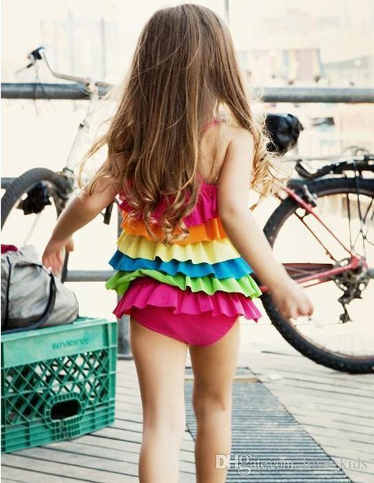 Baby Rompers Swimwear children kids girls rainbow tankini swimwear swimsuit bathing suit beachwear 3-9T baby girls swimming suit