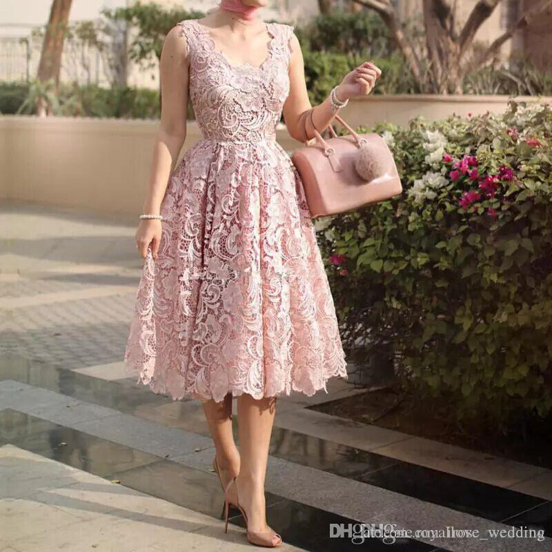 7c73dbab6061 2018 Blush Pink Lace Prom Dress A Line Scoop Neck Full Lace Tea Length Evening  Gowns Saudi Arabic Cocktail Party Dress Formal Dress Custom Short Prom ...