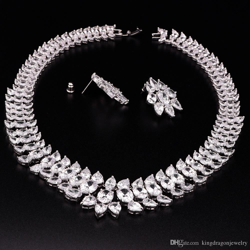 Großhandel Aaa Zirkonia Luxus Cz Halskette Set Partei Schmuck Set ...