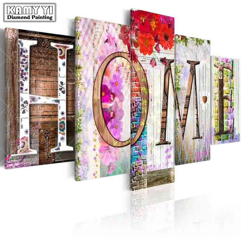 e92d37d28e wholesale full square drill Diamond embroidery home Flowers wall 5D DIY  diamond painting Cross Stitch Multi-picture home decoration