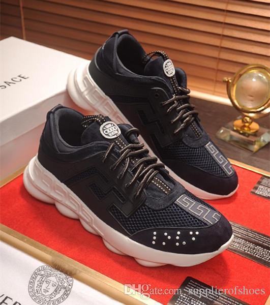 Designer de marque de luxe hommes Casual Shoes sneakers de mode plus récent  Top qualité Réaction de chaîne en cuir véritable Keyboard grec léger de